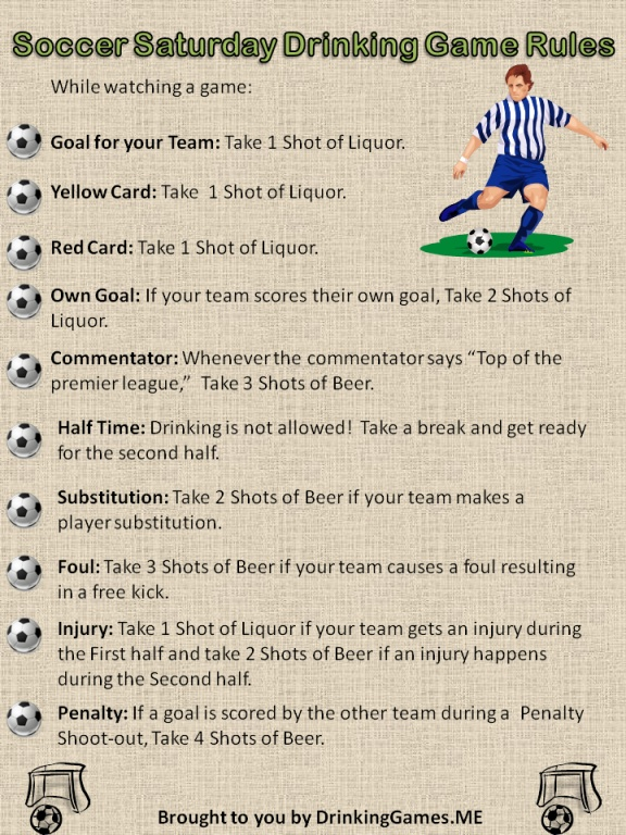 Soccer Saturday Drinking Game Rules Simplified version