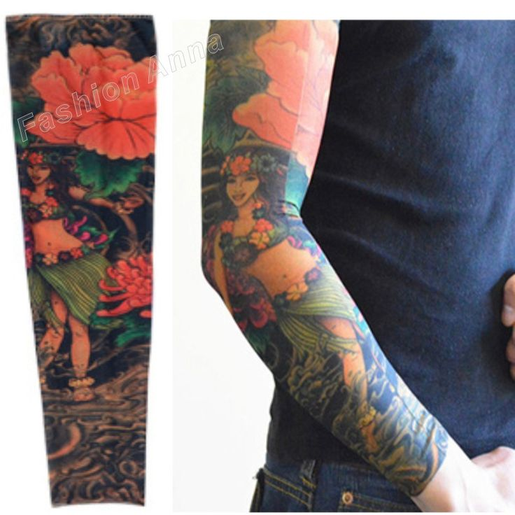 1Pcs Fake Temporary Tattoo Sleeves Women and Men Stretchy Body Artwork Arm Stockings