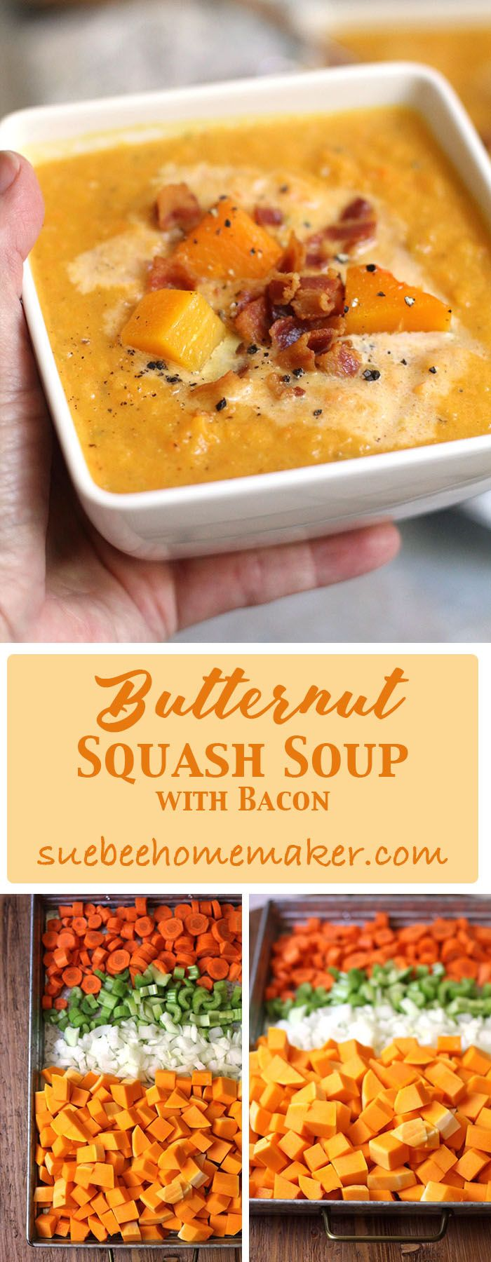 Butternut Squash Soup is a wonderful Autumn soup and is so comforting on cool days. Roasting the veggies in the oven gives it maximum flavor!