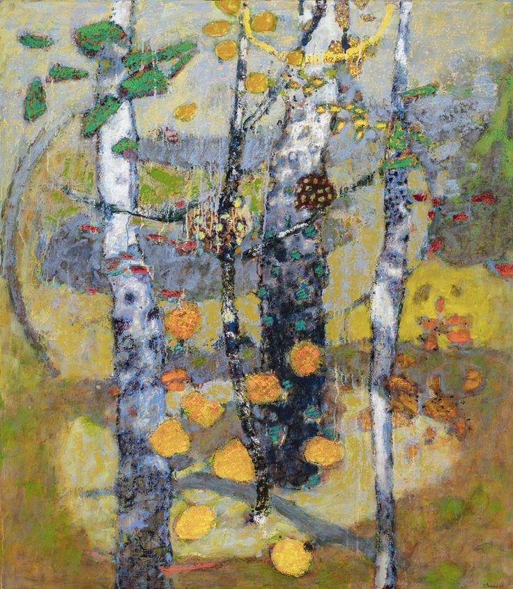 """Rick Stevens, """"Spell"""", oil on canvas, framed 50×44 inches"""