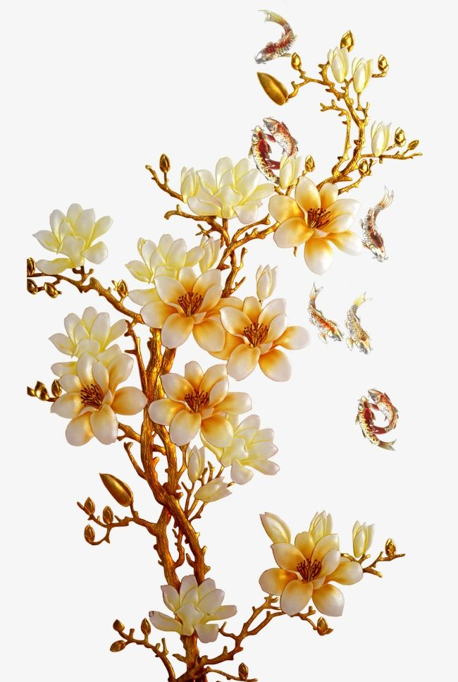Golden Flower Fish Flower Golden Png Clipart Image And