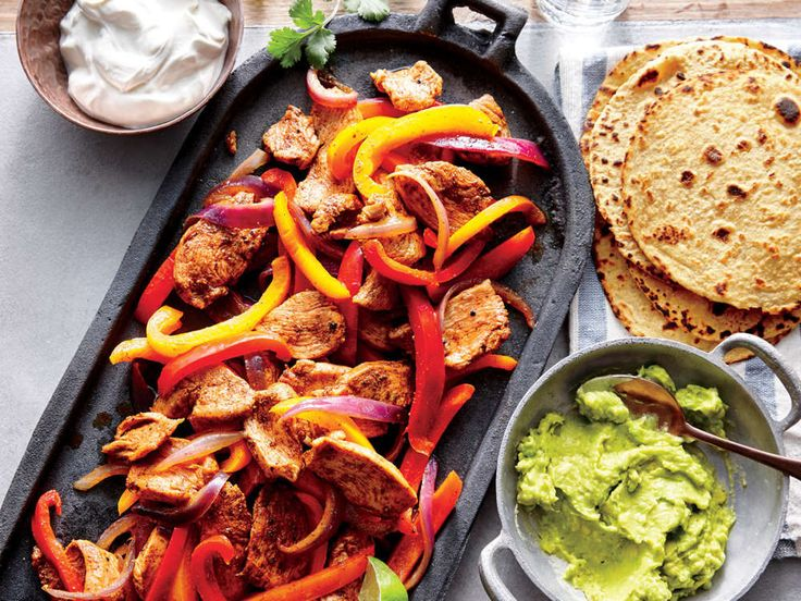 For a casual, fun get-together, set up a make-your-own-fajitas bar with the chicken filling, avocado cream, sour cream, and any other toppings you love, like pico de gallo, sliced fresh jalapeños, or crisp radish slices. The recipe serves 4, but you can easily double it to feed a larger crowd. For a quick, easy side, combine shredded red or green cabbage, toasted hulled pumpkin seeds (pepitas), and crumbled queso fresco. Toss with a simple dressing of lime juice and olive oil.