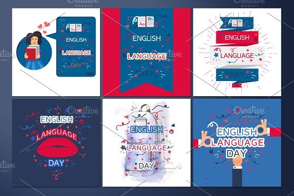English Language Day Banners by barsrsind on @creativemarket