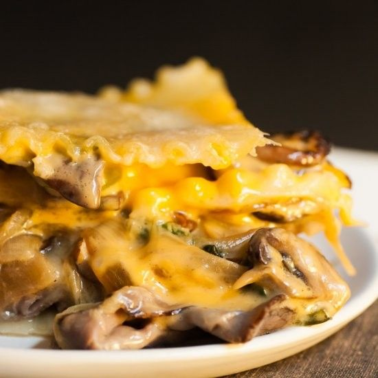 The Philly cheesesteak lasagna has five layers of provolone and Cheez Whiz dripping through juicy roast beef, peppers, mushrooms and onions.