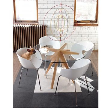 teepee dining table, modern chairs, very cute French bulldog!