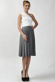 Dark gray skirt with lace straps infinity bridesmaid dresses