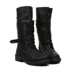 $18.40 Fashion Women's Mid-Calf Boots With Buckle and Lace-Up Design-sammydress.com