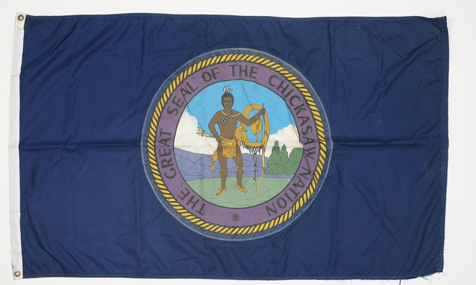 In celebration of Flag Day, here is a Flag from Chickasaw Nation. This flag in particular was flown  during the Al Taqaddum Inter-Tribal Powwow held by members of the U.S. Army's 120th Engineer Combat Battalion (headquartered in Okmulgee, Oklahoma), September 17-18, 2004, in Al Taqaddum, Iraq.