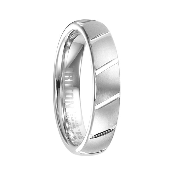 Triton Rings - IMOGEN Domed White Tungsten Ring with Brushed Finish and Diagonal Grooves - 5 mm