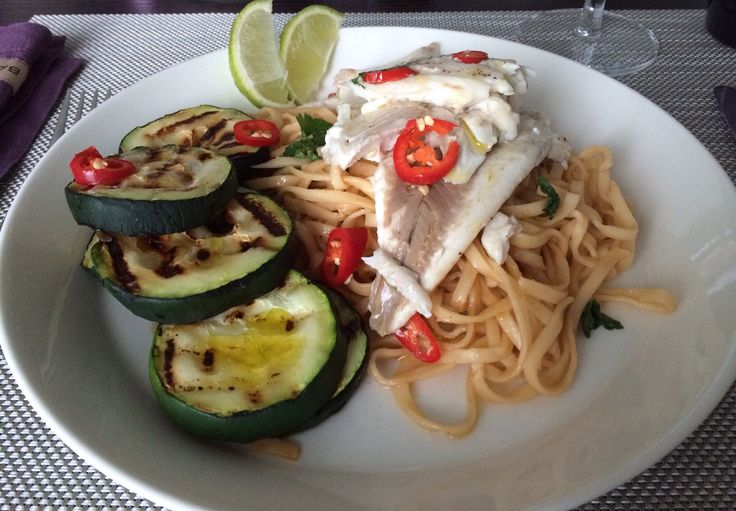 Whitefish with noodles and zuccini