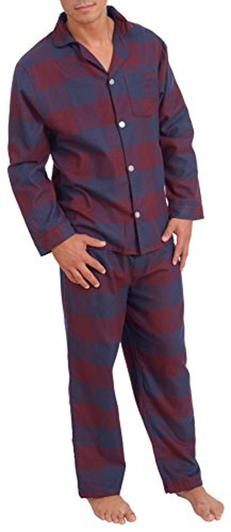 Platinum Men's Flannel Pajama Set Red/Navy Checkered X-Large - Brought to you by Avarsha.com