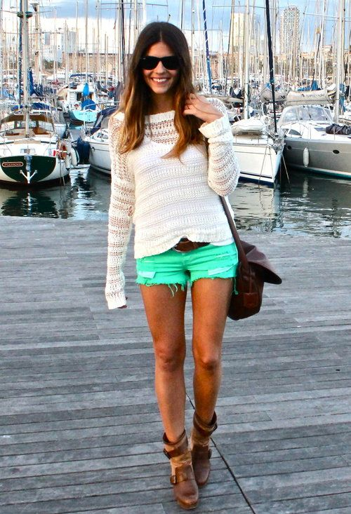 Tom boy boots.Mint Shorts, Fashion, Mint Green, Style, Clothing, Colors Shorts, Outfit, Green Shorts, Dreams Closets