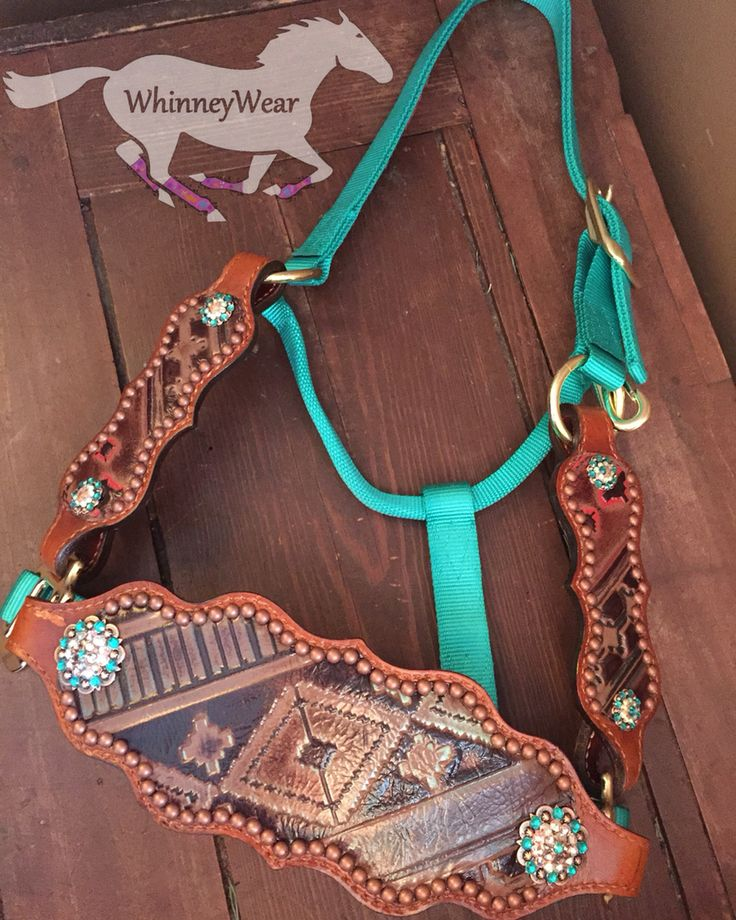 Custom bronc halter for Jodi! This gorgeous piece features matching cheeks and bling Concho upgrades. We offer a variety of hides, styles and bling. Find more info at www.whinneywear.com