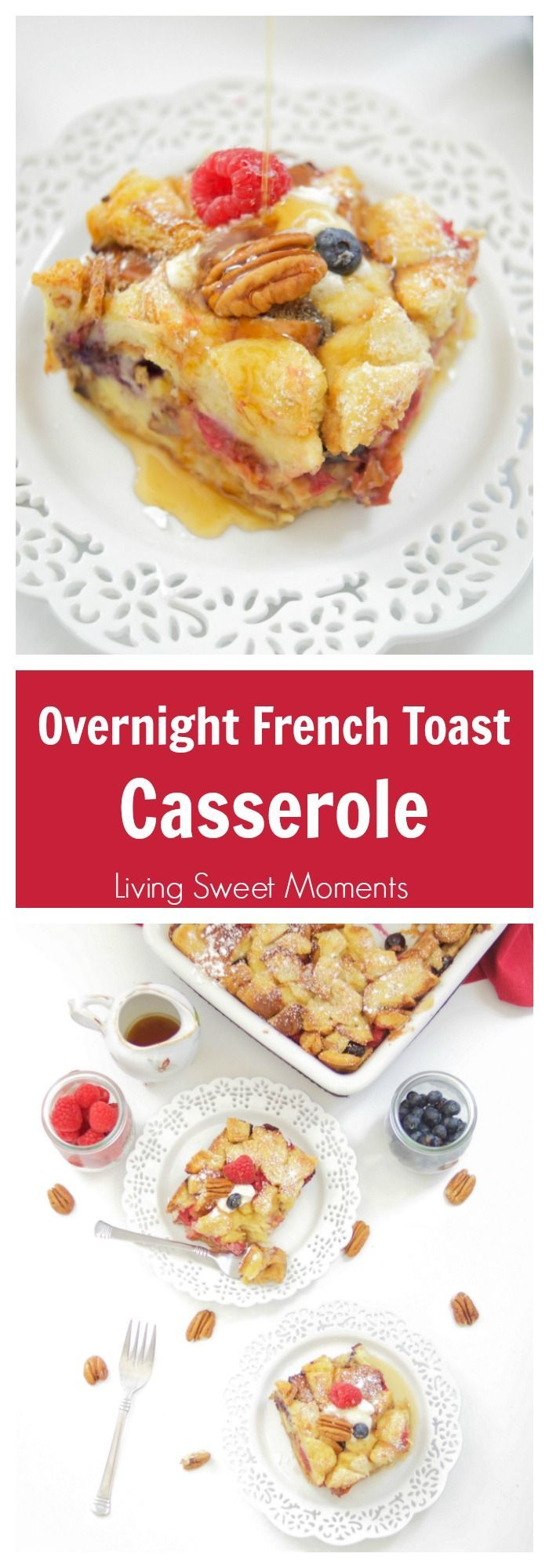This delicious Overnight French Toast Casserole recipe is stuffed with maple peanut butter and berries. Perfect for brunch, breakfast, or even dessert. Yum! #ad