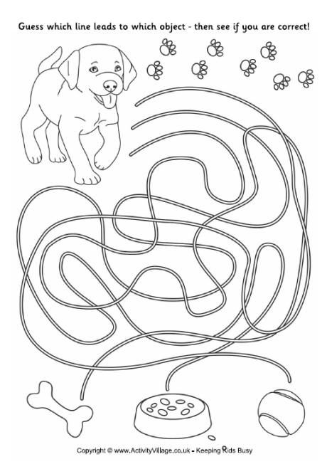 seeing eye dog coloring pages | Puppy Match Up - Simple kid's maze (writing skills, fine ...