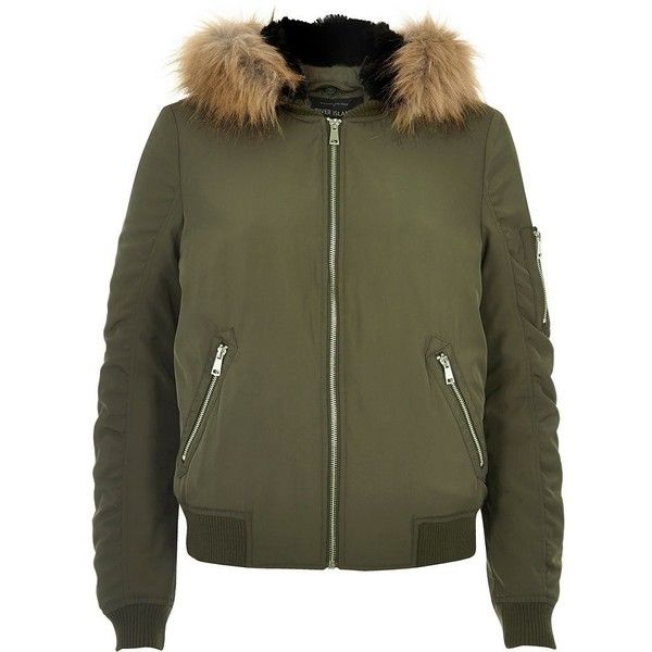 River Island Khaki faux fur hooded bomber jacket (£88) ❤ liked on Polyvore featuring outerwear, jackets, bomber jackets, coats / jackets, khaki, women, blouson jacket, hooded jacket, bomber style jacket and river island