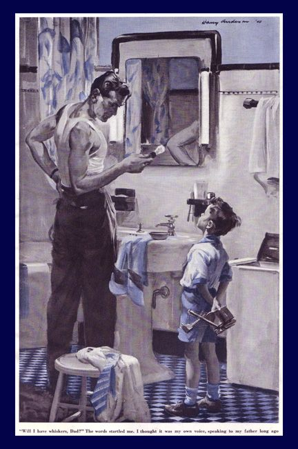Father-son shaving lesson ~ Harry Anderson, 1940.