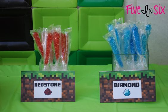 Minecraft Party Decoration Ideas and Downloadable Printables - Five In Six Blog - food signs