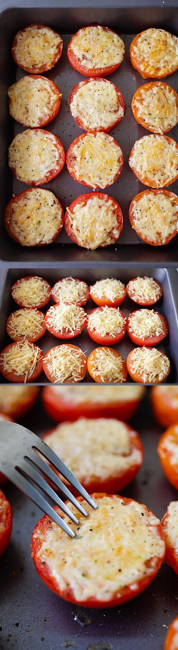 Parmesan Roasted Tomatoes - juicy and plump roasted tomatoes loaded with Parmesan cheese. So easy to make, fool-proof and amazing! | http://rasamalaysia.com