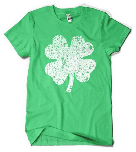 Cybertela Big Faded Four Leaf Clover Mens T-shirt Faded Design Tee (Kelly Green Large)