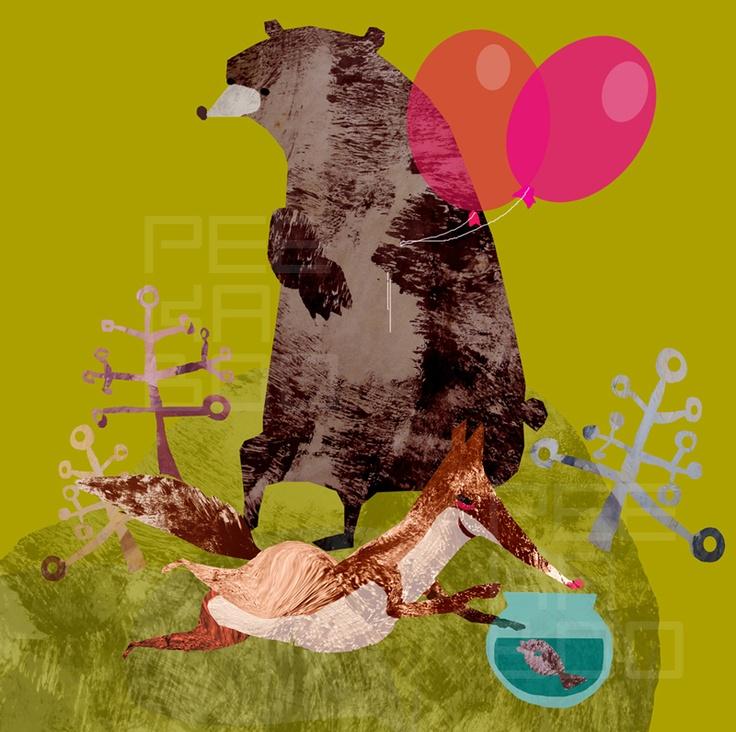BU a GRU Nová serié roztomilých zvířátek ANIMÁKY Grafika 2D- monotypie + koláž z olejové malby Dekorační obrázek tištěný na papíře 220g/m2 FORMAT 28x28cm