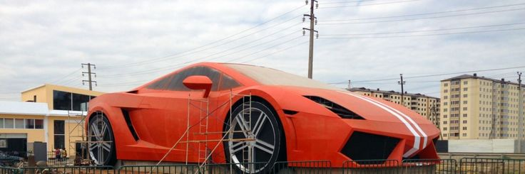 a huge #Lamborghini car replica outside #Anzhi stadium!
