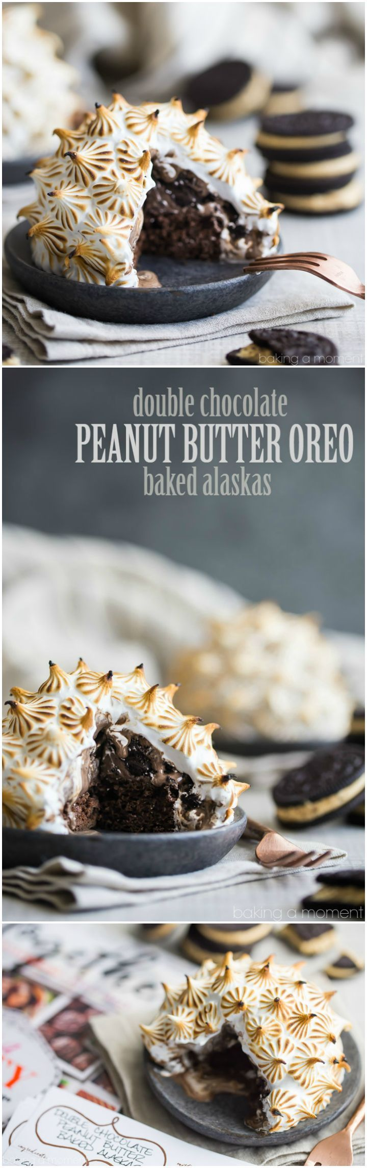 Double Chocolate Peanut Butter Oreo Baked Alaskas- WHOA! So many incredible flavors and textures going on here. Perfect for when you really want to impress. #BHGParty