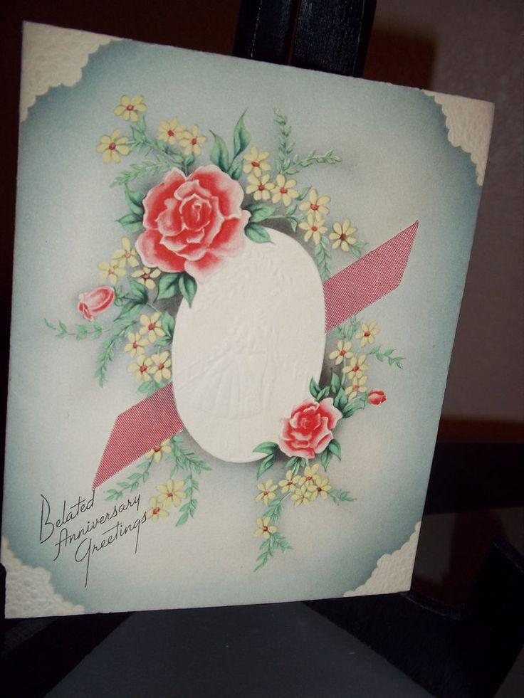Lot of 2 Vintage Anniversary Greeting Cards Unused