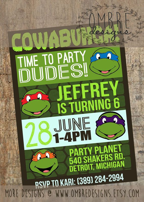 Ninja Turtles Invitation. Matching TMNT Decor also available!