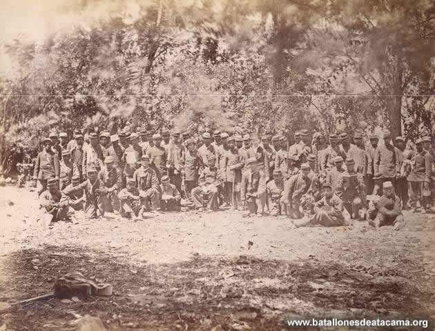 Fotografías Históricas de La Guerra del Pacifico 1879 _ 1884 Regimiento Buin en Lurín.