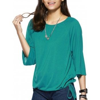 Elegant Pure Color Scoop Neck Bell Sleeve Tee For Women