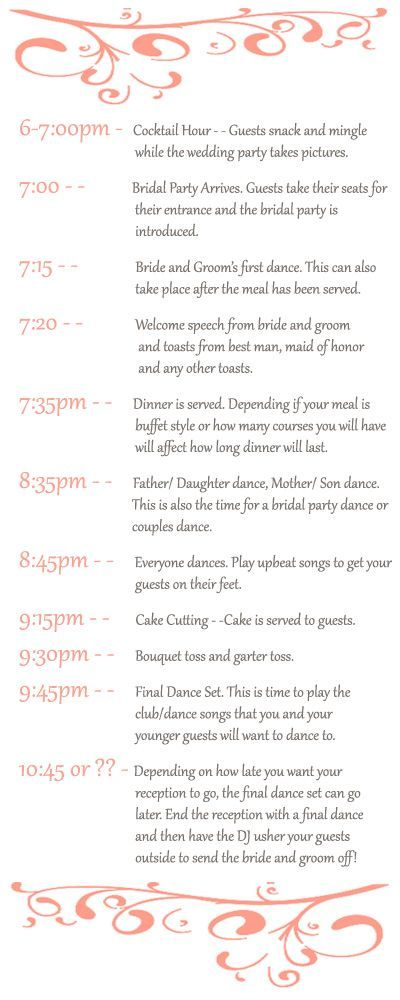Best 25 Wedding reception timeline ideas – Sample Event Timeline