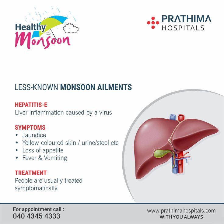 LESS-KNOWN MONSOON AILMENTS  HEPATITIS-E Liver inflammation caused by a virus  SYMPTOMS • Jaundice • Yellow-coloured skin / urine/stool etc • Loss of appetite • Fever & Vomiting  TREATMENT People are usually treated symptomatically.   For appointment call : 040 4345 4333