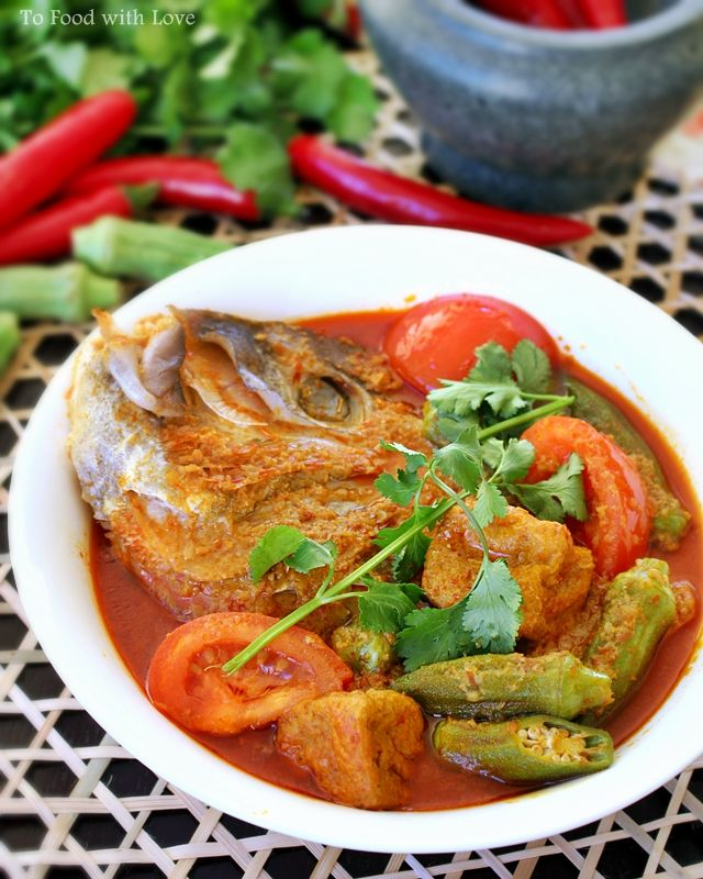 Malaysian Fish Head Curry ; galangal ; ginger ; candlenut ; tofu puffs ; fish sauce ; seafood ; asian