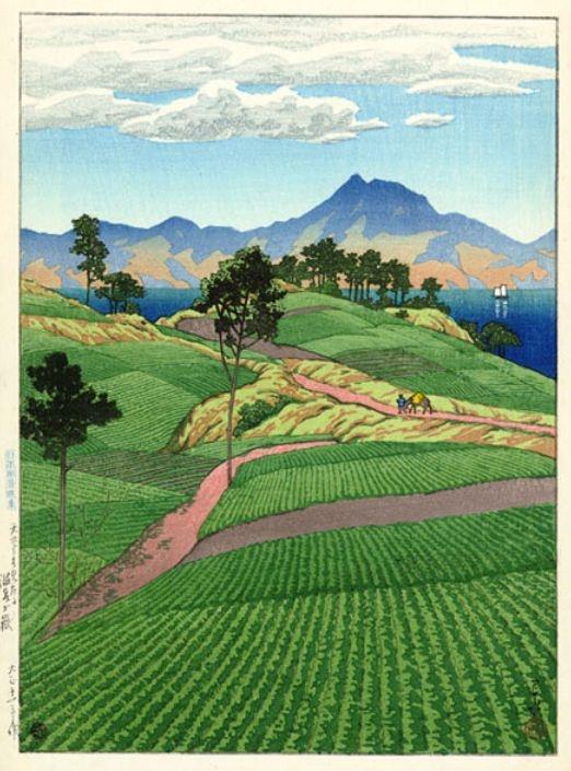 Mt. Onsengatake, from Amakusa by Hasui (1923)