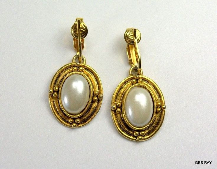Vintage Victorian Gold Tone Victorian Style Faux Pearl Dangle Earrings Clip-on #DropDangle