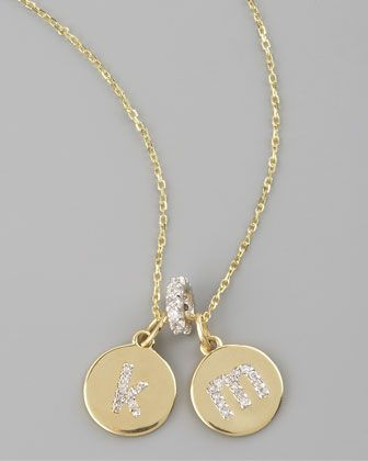 Diamond-Initial Necklace & Spacer Pendant by KC Designs at Neiman Marcus. K&M=perfect