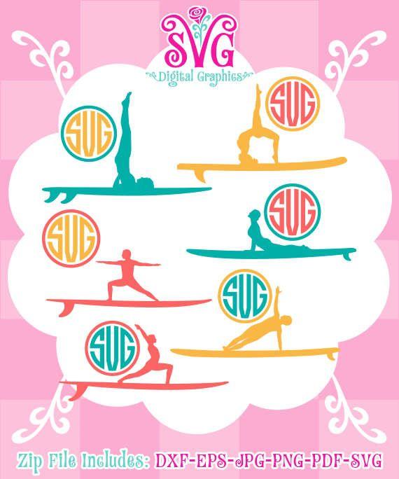Paddle Board Yoga SVG, Yoga monogram, Paddle board yoga SVG Files, Paddle board yoga Cut File Design, Instant Download, 027-DG