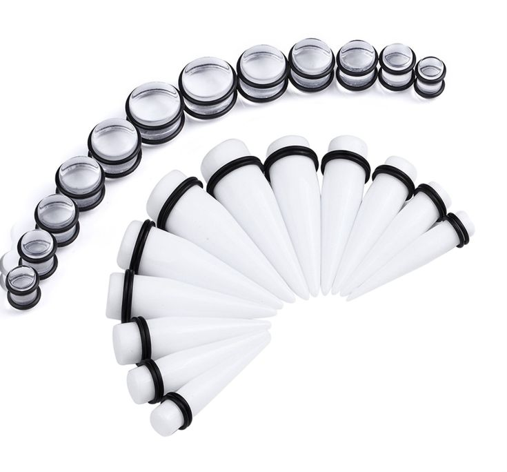 BodyJ4You Gauges Kit White Acrylic Tapers & Clear Plugs 00G-20mm Piercing Jewelry 24 Pieces