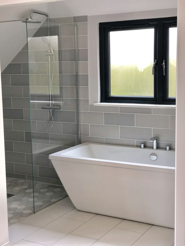 Grey Bathroom In Scandi Style Using Attingham Mist Plain And Patterned Mixed Tiles In Brick Pattern To Wa Grey Bathrooms Scandi Bathroom Bathroom Tile Designs