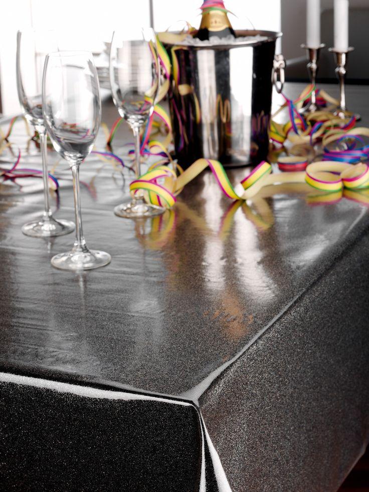 Glitter Folie Silber - Transparente Glitzer TISCHDECKE - Meterware - Breite 140 cm - Länge wählbar   Transparent - Meterware   Tischdecken   Beautex Heimtextilien