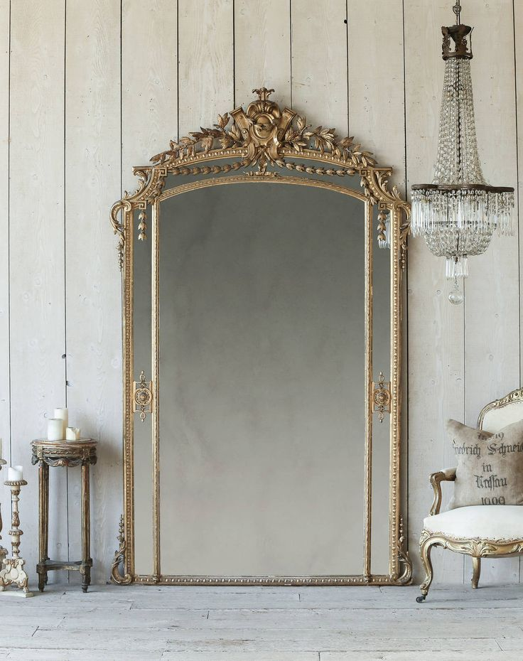 Magnificent Antique French Ballroom Mirror In Shimmering Gilt