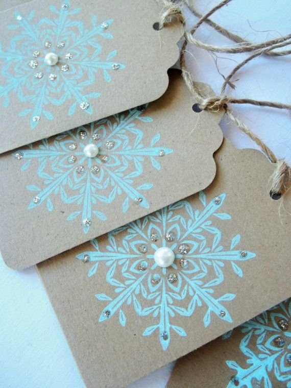 Tiffany Blue Snowflake Wedding Favor  Tags  Set of by LillyThings, $6.50