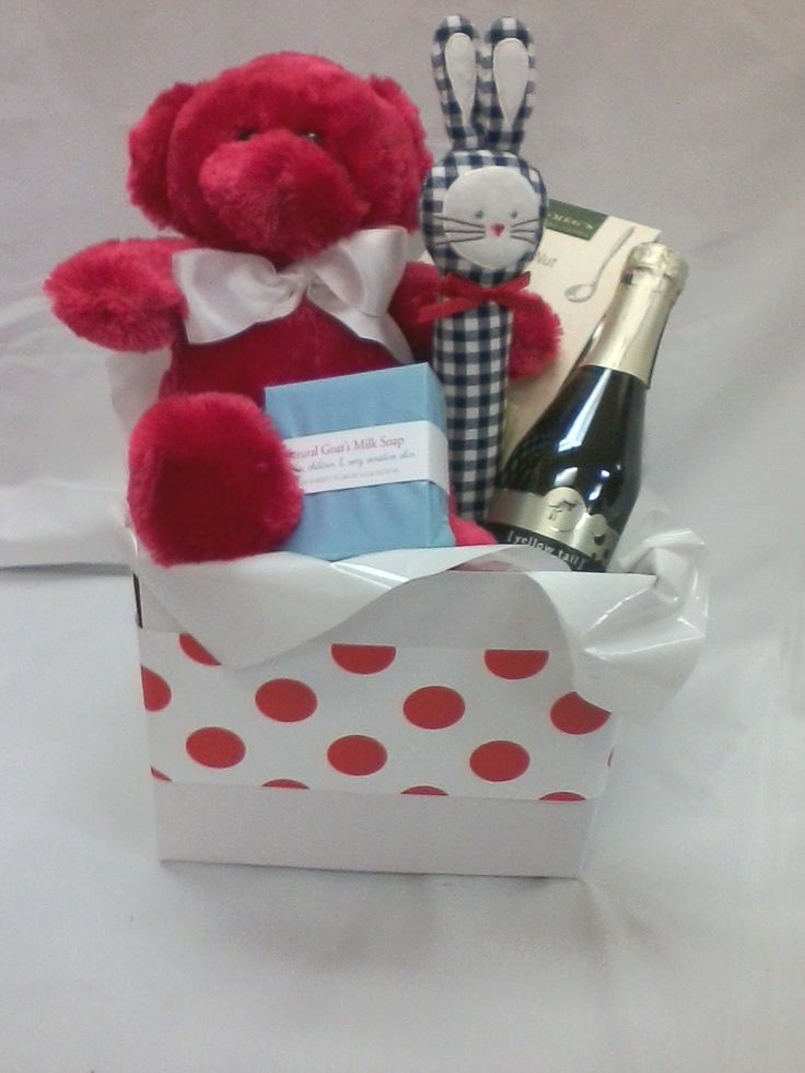 Baby Basket Red Bear and Wine from Sendabasketsa - Unley. South Australia. www.facebook.com/... Gift Baskets, Hampers and Boxes for all those special occasions 'New Baby' 'Mothers' Day' 'Fathers Day' 'New Baby' 'Anniversary' 'Birthday' 'Happy Easter' 'Merry Christmas', 'Congratulations - 'Promotion' 'New Job' 'New Home' and more.