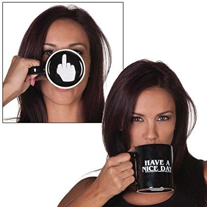 SHENNOSI® Have a Nice Day Coffee Mug Middle Finger Funny Cup for Coffee Milk Juice or Tea Cups: Amazon.co.uk: Kitchen & Home