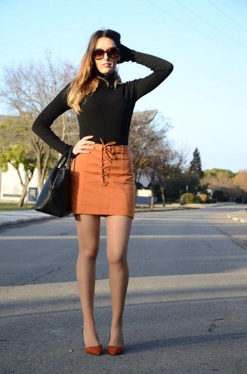 orangeskirt-13 #tan #pantyhose #legs #blogger