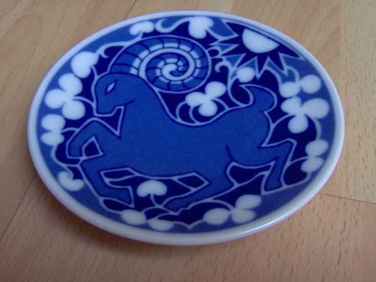 Vintage small porcelain wall plate Porsgrund Norway Zodiac Aries Vædderen
