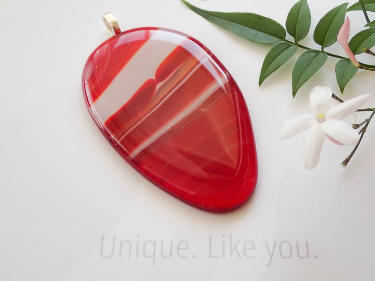 Make a Statement: Unique large red fused glass pendant, oval red and white opaque glass, statement necklace by SpallekGlassArt by SpalleksGlassArt on Etsy https://www.etsy.com/au/listing/574291393/make-a-statement-unique-large-red-fused