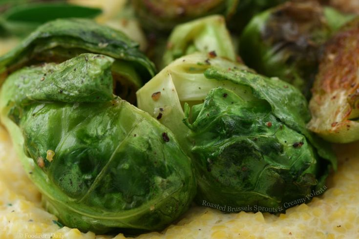 roasted brussels sprouts with creamy polenta