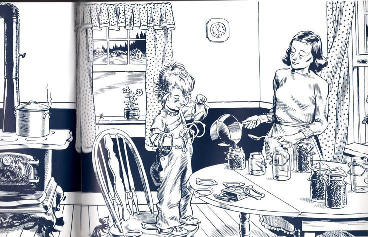 Blueberries for Sal - this is part of the two page spread at the beginning of the book. The kitchen I have always wanted.